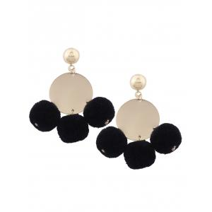 Fuzzy Ball Disc Round Earrings