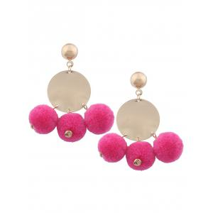 Fuzzy Ball Disc Round Earrings - Rose Red - M