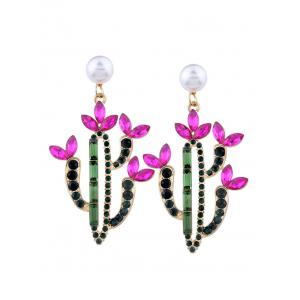Faux Crystal Pearl Cactus Drop Earrings