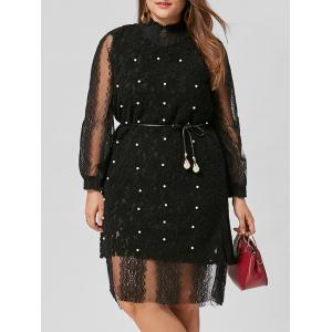 Plus Size Belted Lace Dress with Pearl Embellished Vest - Black - 4xl