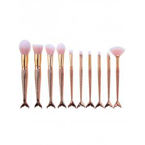 10Pcs Mermaid Design Ombre Hair Makeup Brushes Kit