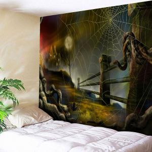 Halloween Spider Web Printed Wall Tapestry