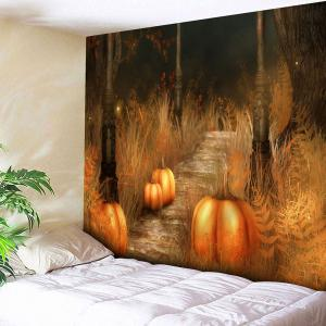 Halloween Pumpkin Lamp Wall Hanging Tapestry - Burnt Orange - W91 Inch * L71 Inch