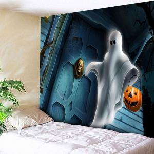 Ghost Pumpkin Lamp Halloween Wall Tapestry - W91 Inch * L71 Inch