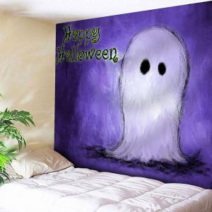 Happy Halloween Ghost Wall Decor Tapestry - Purple - W91 Inch * L71 Inch