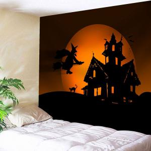 Halloween Witch Printed Wall Decor Tapestry - Mandarin - W91 Inch * L71 Inch