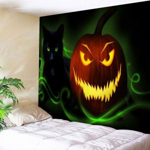 Halloween Jack O Lantern Cat Wall Decor Tapestry - Green - W91 Inch * L71 Inch