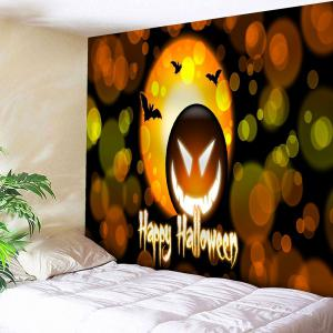 Happy Halloween Pumpkin Lantern Bedroom Tapestry - Yellow Orange - W91 Inch * L71 Inch