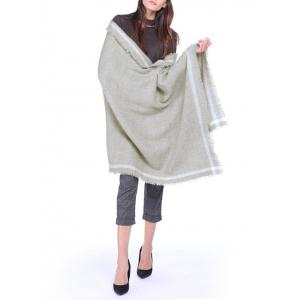 Fringed Plain Stripe Brim Warm Shawl Scarf - Gray