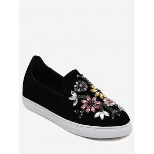 Suede Beading Slip On Flat Shoes - Black - 39