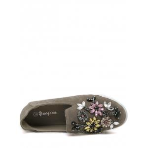 Suede Beading Slip On Flat Shoes -