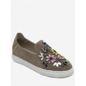 Suede Beading Slip On Flat Shoes - Khaki - 38