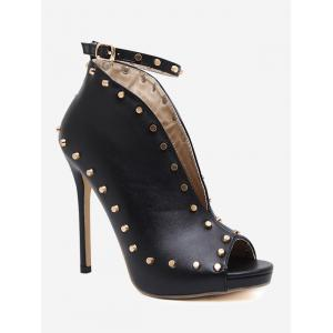 Studded Ankle Strap Buckle Strap Stiletto Heel Pumps
