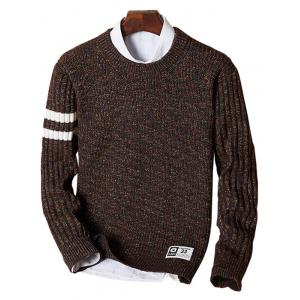 Crew Neck Heathered Striped Sweater - Coffee - L