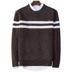 Crew Neck Stripe Ribbed Knit Sweater