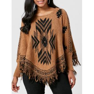 Batwing Graphic Sweater with Fringes - Brown - One Size
