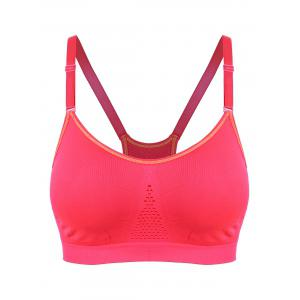 Adjustable Comfortable Sports Padded Bra - Red - S