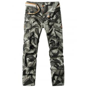 Straight Leg Pockets Camo Cargo Pants