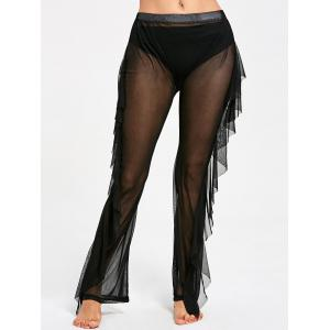 Ruffled See Through Mesh Cover Up Pants - BLACK S