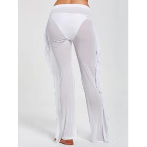 Ruffled See Through Mesh Cover Up Pants - WHITE XL