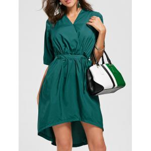 V Neck Drawstring Asymmetric Hem Dress