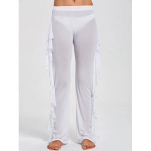 Ruffled See Through Mesh Cover Up Pants - WHITE L