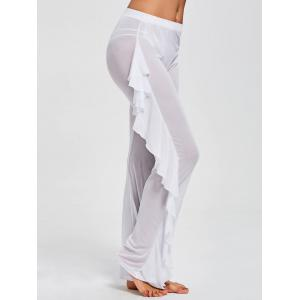 Ruffled See Through Mesh Cover Up Pants - WHITE S