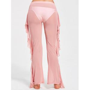 Ruffled See Through Mesh Cover Up Pants - PINK XL