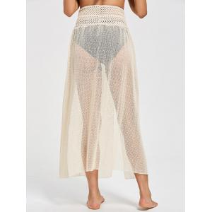 Crochet Slit Swimsuit Cover Up - BEIGE ONE SIZE