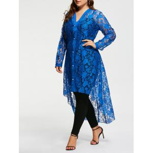 High Low Plus Size Maxi Lace Shirt