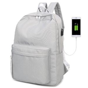 USB Interface Nylon Zippers Backpack - Light Gray