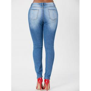 Washed High Waisted Skinny Jeans - BLUE M