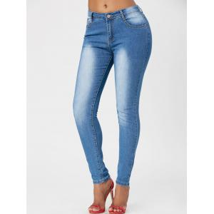 Washed High Waisted Skinny Jeans - Blue - Xl
