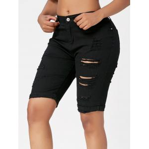 Ripped Bermuda Cuffed Shorts - BLACK XL