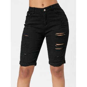 Ripped Bermuda Cuffed Shorts