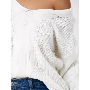 Cable Knit Skew Neck Oversized Sweater -