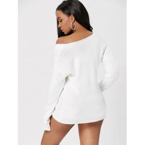 Cable Knit Skew Neck Sweater - OFF-WHITE ONE SIZE