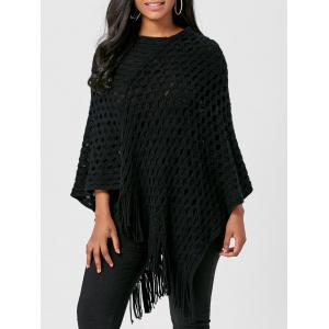 Batwing Asymmetric Fringed Poncho Sweater - Black - One Size
