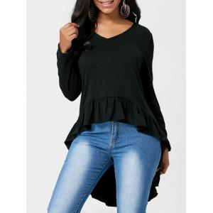 V Neck Ruffle High Low Top
