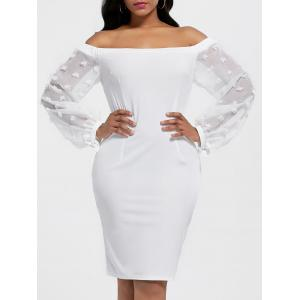 Sheer Sleeve Off The Shoulder Bodycon Dress