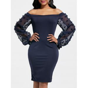 Sheer Sleeve Off The Shoulder Bodycon Dress - Cerulean - M
