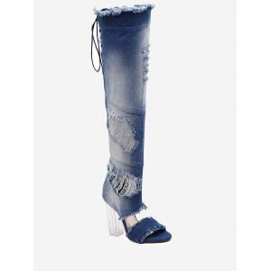 Ripped Denim Over The Knee Sandal Boots - Blue - 39