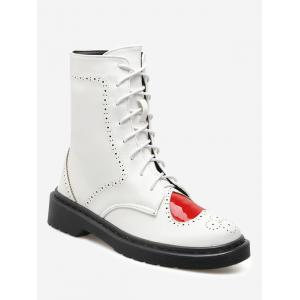 Heart Cutout Lace Up Ankle Boots - White - 38