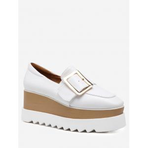 Belt Buckle Square Toe Wedge Shoes - White - 38
