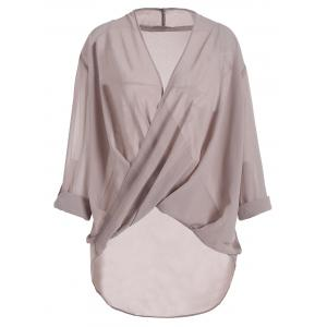 Plus Size Long Sleeve Wrap Blouse