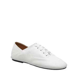 Faux Leather Slight Heel Sneakers - WHITE 38