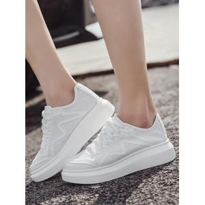 Breathable Faux Leather Insert Athletic Shoes - WHITE 37