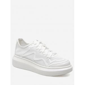 Breathable Faux Leather Insert Athletic Shoes - White - 39