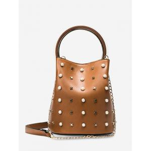 Faux Pearls Chain Bucket Bag - Brown