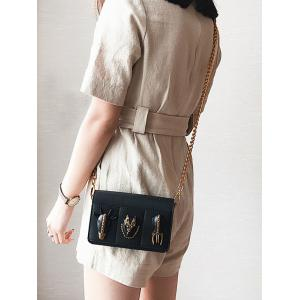 Rivets Chain Faux Leather Crossbody Bag -